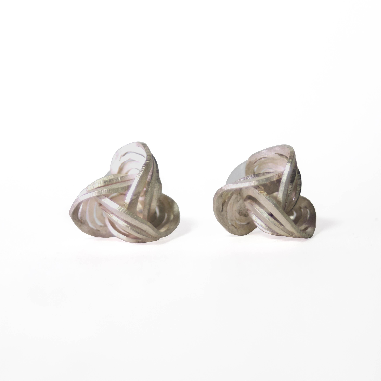 Ripples Rosebud Satin Finish Fine Silver Stud Earrings